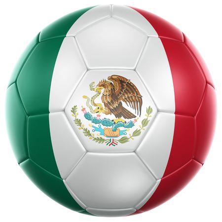bandera de mexico: representación 3D de una pelota de fútbol mexicano aislada en un fondo blanco