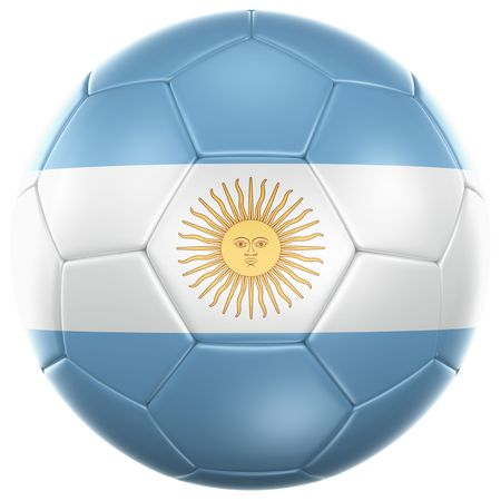 argentinian flag: 3d rendering of a Argentinian soccer ball isolated on a white background