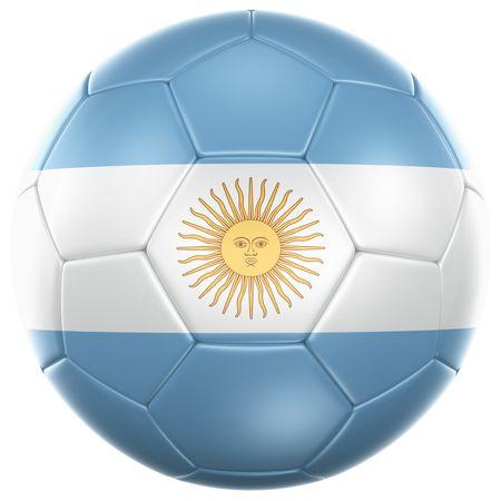 argentina bandera: representaci�n 3D de una pelota de f�tbol argentino aislada en un fondo blanco Foto de archivo