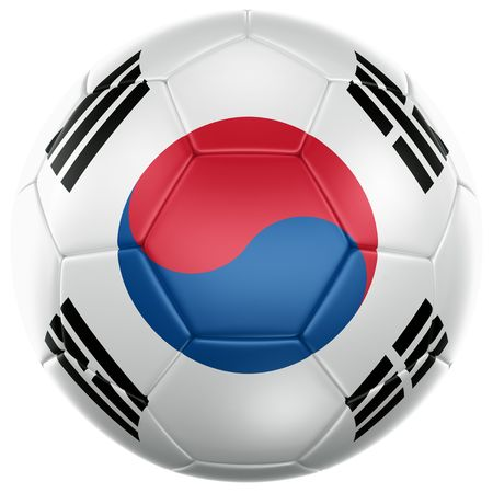 koreans: 3d rendering of a South korean soccer ball isolated on a white background