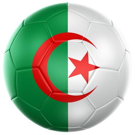 Algierski: 3D renderowania z kulką algierski Piłka nożna wyizolowanych na białym tle