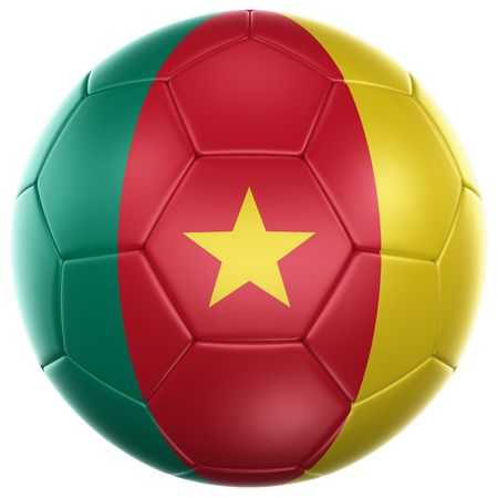 cameroonian: 3d rendering of a Cameroonian soccer ball isolated on a white background Stock Photo