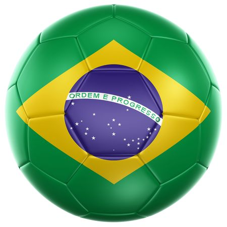 football world cup: 3d rendering of a Brazilian soccer ball isolated on a white background Stock Photo