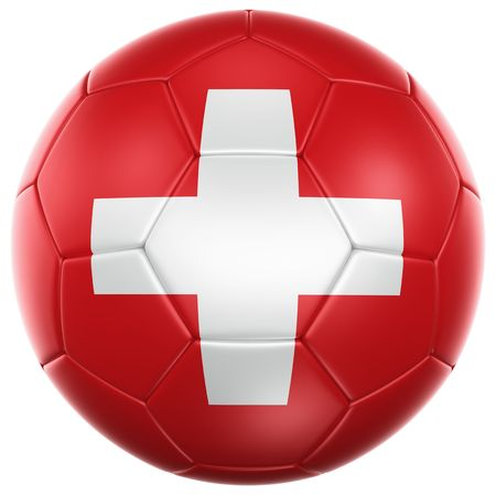 swiss ball: 3d rendering of a Swiss soccer ball isolated on a white background
