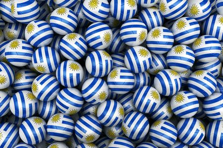 3d rendering of Uruguayan soccer balls. Perfect for background photo