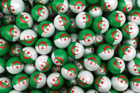 algerian flag: 3d rendering of Algerian soccer balls. Perfect for background