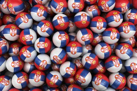 serbian: 3d rendering of Serbian soccer balls. Perfect for background Stock Photo