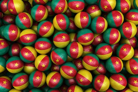 cameroonian: 3d rendering of Cameroonian soccer balls. Perfect for background