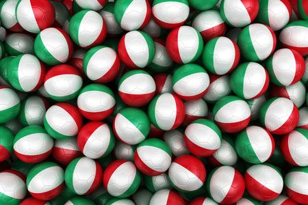 3d rendering of Italian soccer balls. Perfect for background photo