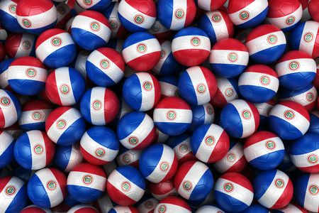 paraguayan: 3d rendering of Paraguayan soccer balls. Perfect for background Stock Photo