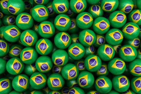 brazil country: 3d rendering of Brazilian soccer balls. Perfect for background