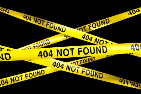 3d rendering of Caution tape with 404 NOT FOUND written on it Stock Photo - 7250744
