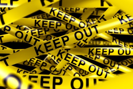 3d rendering of caution tape with KEEP OUT written on it photo