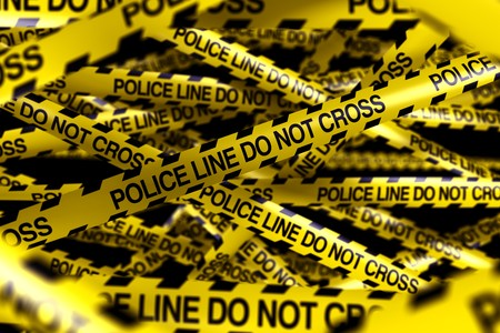 3d rendering of caution tape with POLICELINE DO NOT CROSS written on it Stock Photo - 7250868