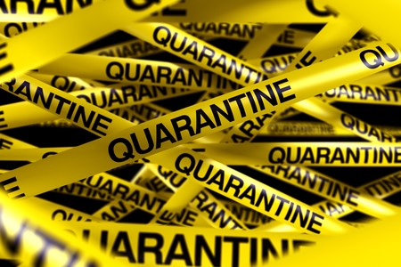3d rendering of caution tape with QUARANTINE written on it photo