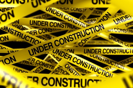 3d rendering of caution tape with UNDER CONSTRUCTION written on it photo