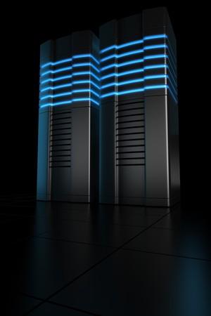 renderfarm: 3d rendering of futuristic servers