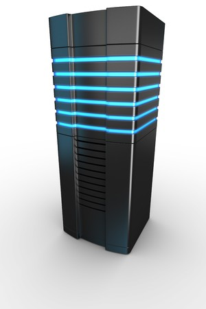 renderfarm: 3d rendering of a futuristic server on a white background Stock Photo