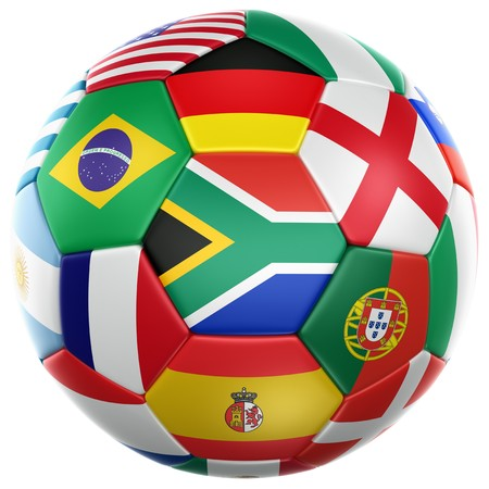 brazil country: 3d rendering of a soccer ball with flags of the participating countries in world cup 2010