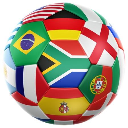 pelota de futbol: representaci�n 3D de un bal�n de f�tbol con banderas de los pa�ses participantes en la Copa del mundo 2010  Foto de archivo