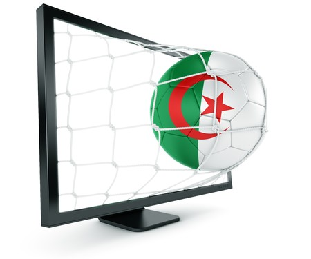 algerian: 3d rendering of an Algerian soccer ball coming out of a monitor