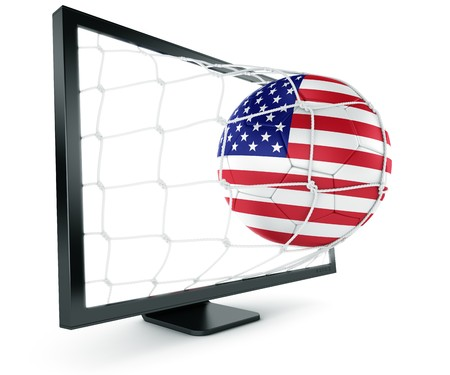 3d rendering of a North American soccer ball coming out of a monitor photo