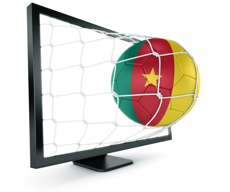 cameroonian: 3d rendering of a Cameroonian soccer ball coming out of a monitor