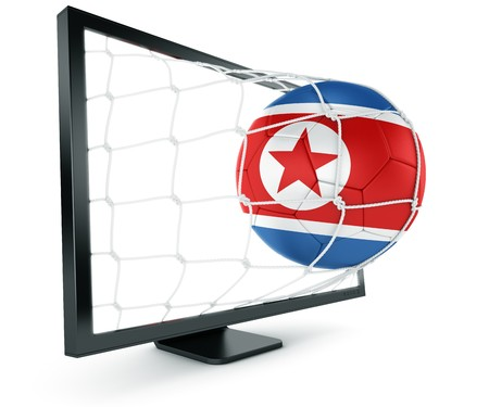 3d rendering of a North Korean, soccer ball coming out of a monitor Stock Photo - 7250725