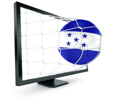 3d rendering of a Honduran soccer ball coming out of a monitor photo