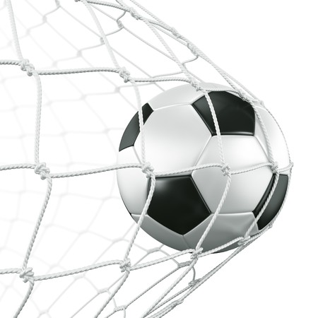 soccer net: 3d rendering of a soccer ball in a net