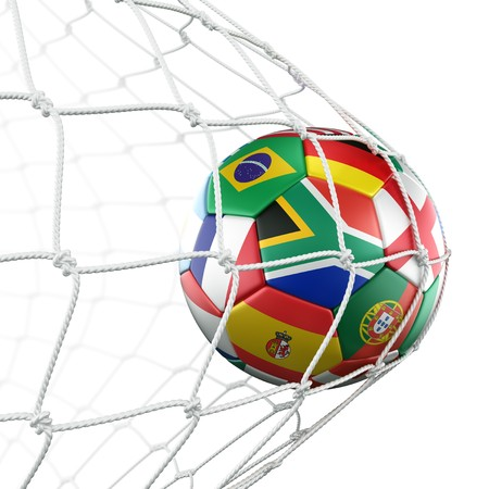 the world cup: rendering 3D di un pallone da calcio in un netto con bandiere dei paesi partecipanti in Coppa del mondo 2010