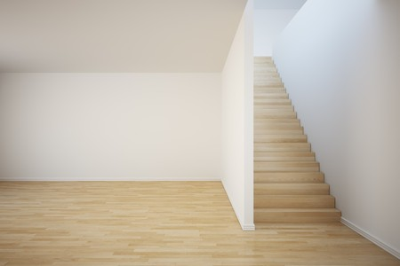 3d rendering of an empty room with stairs on the right side