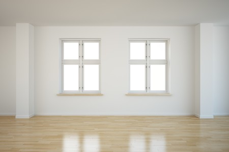 two floors: 3d rendering of an empty room with two closed windows Stock Photo