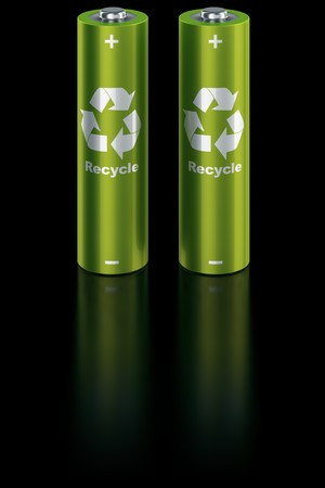 3d rendering of a two green batteries photo