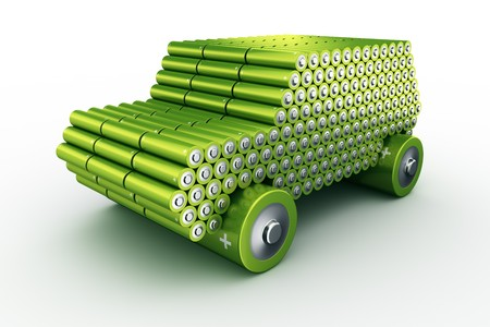 3d rendering of a car made using batteries to show the concept of battery powered cars
