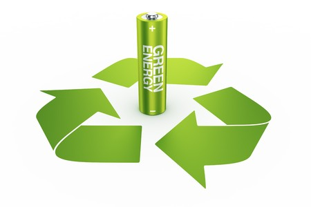 3d rendering of a green battery standing in the middle of a recycle logo Stock Photo