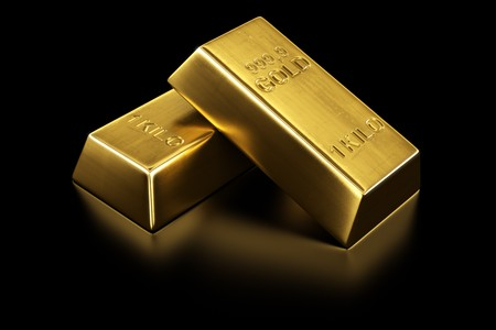 gold ingot: 3d rendering of two gold bars Stock Photo