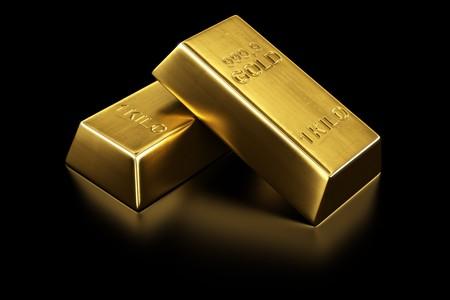 lingote de oro: representaci�n 3D de dos barras de oro