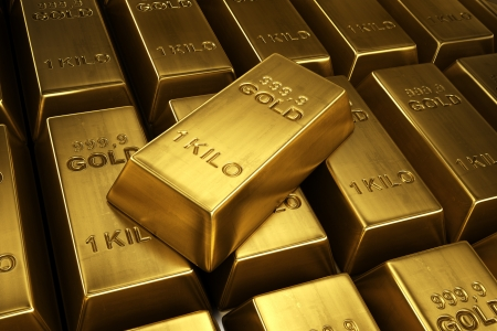 ingot: 3d rendering of gold bars with a single bar ontop Stock Photo