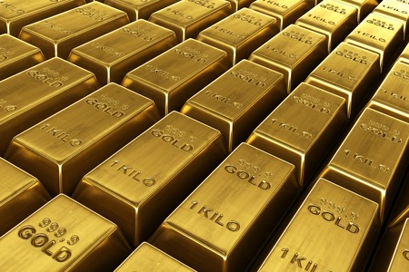 3d rendering of stacked gold bars Stock Photo - 7250893