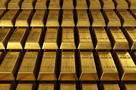 lingote de oro: representaci�n 3D de barras apiladas de oro  Foto de archivo