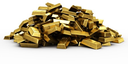 3d rendering of a pile of gold bars Stock Photo - 7250869