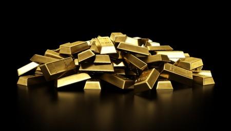 lingote de oro: representaci�n 3D de una pila de barras de oro  Foto de archivo