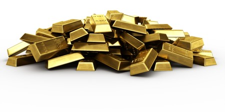 gold bar: 3d rendering of a pile of gold bars
