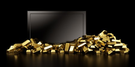 3d rendering of a tv surrounded with gold bars photo