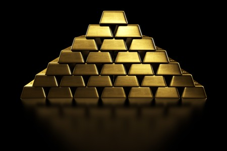 gold ingot: 3d rendering of gold bars stacked in a pyramid shape