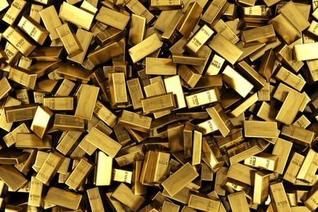 scattered: 3d rendering of scattered gold bars Stock Photo
