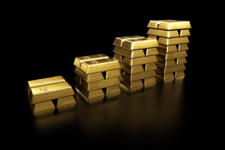 3d rendering of stacked gold bars Stock Photo - 7250838