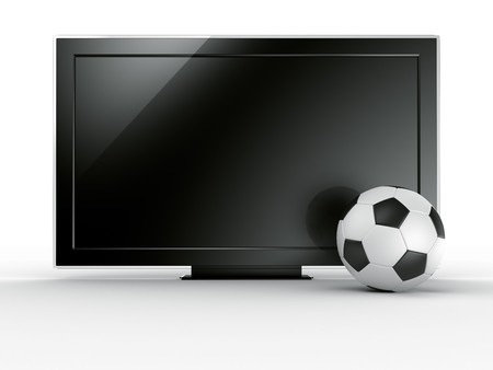 soccerball: 3d rendering of a TV with a soccerball infront