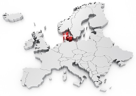 denmark flag: 3d rendering of a map of Europe with Denmark selected